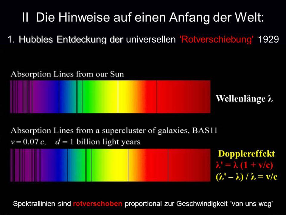 Hubbles Entdeckung der II Die Hinweise auf einen Anfang der Welt: 1. Hubbles Entdeckung der universellen 'Rotverschiebung' 1929 Spektrallinien sind ro