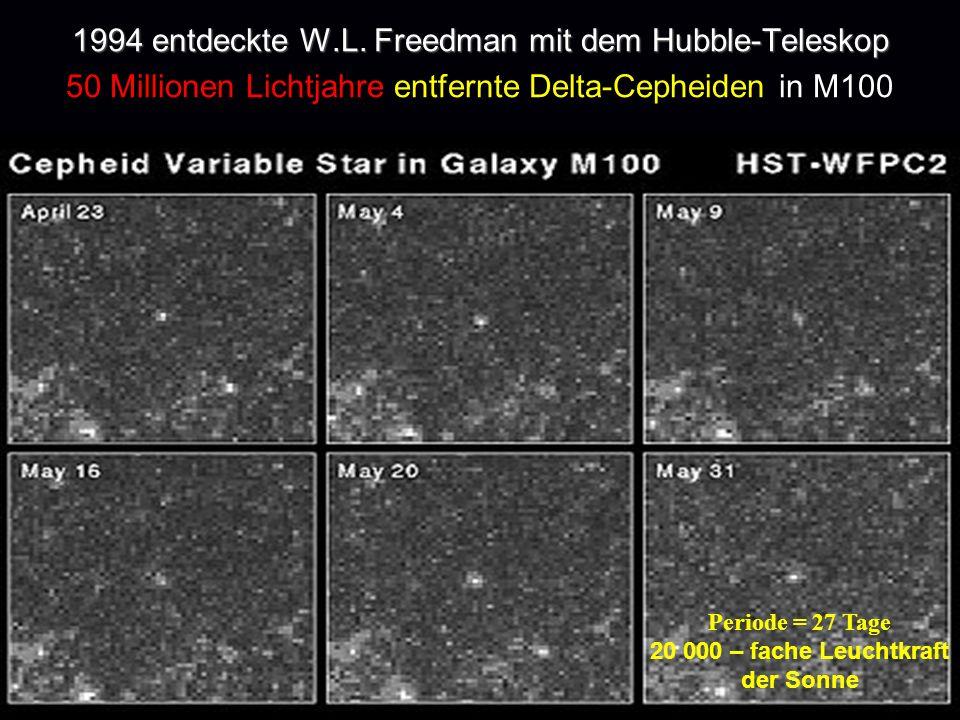 1994 entdeckte W.L. Freedman mit dem Hubble-Teleskop 1994 entdeckte W.L. Freedman mit dem Hubble-Teleskop 50 Millionen Lichtjahre entfernte Delta-Ceph