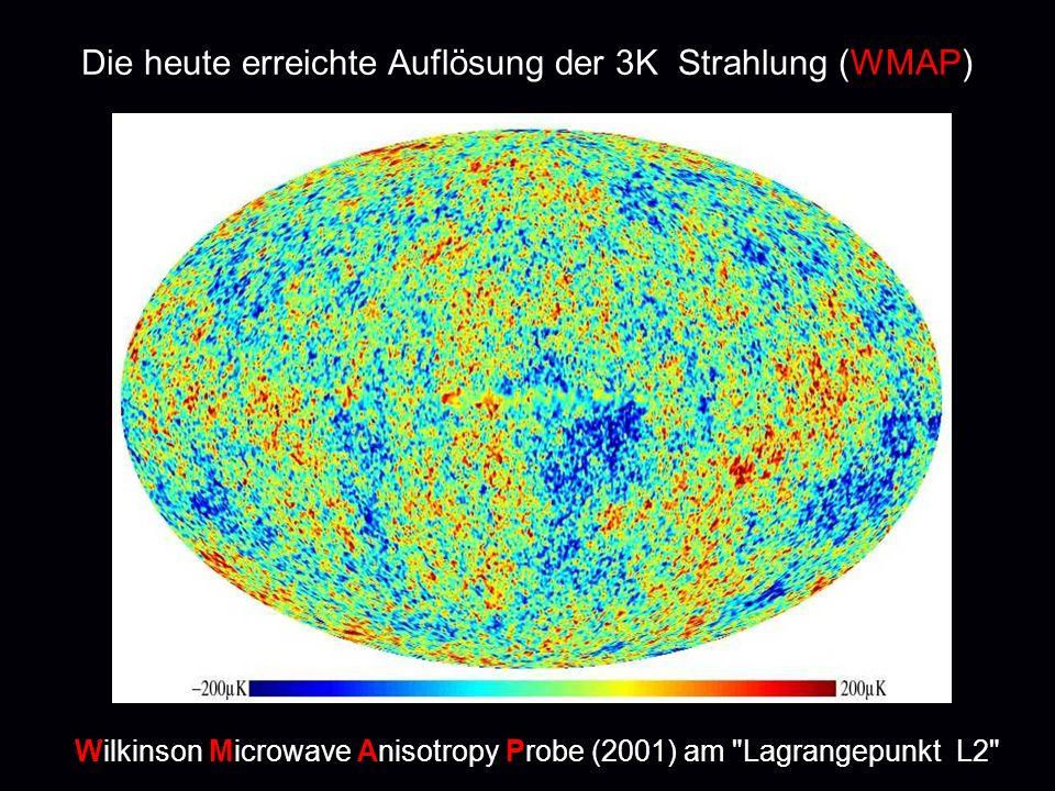 Die heute erreichte Auflösung der 3K Strahlung (WMAP) Wilkinson Microwave Anisotropy Probe (2001) am