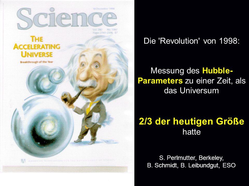 Die 'Revolution' von 1998: Messung des Hubble- Parameters zu einer Zeit, als das Universum 2/3 der heutigen Größe hatte S. Perlmutter, Berkeley, B. Sc
