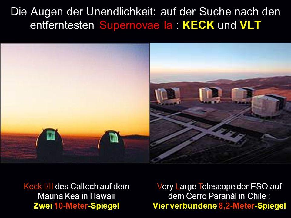 Die Augen der Unendlichkeit: auf der Suche nach den entferntesten Supernovae Ia : KECK und VLT Keck I/II des Caltech auf dem Mauna Kea in Hawaii Zwei