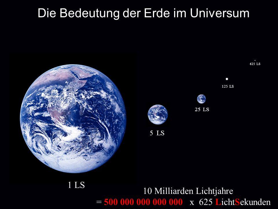 Die Bedeutung der Erde im Universum 1 LS 5 LS 25 LS 125 LS. 625 LS 10 Milliarden Lichtjahre = 500 000 000 000 000 x 625 LichtSekunden