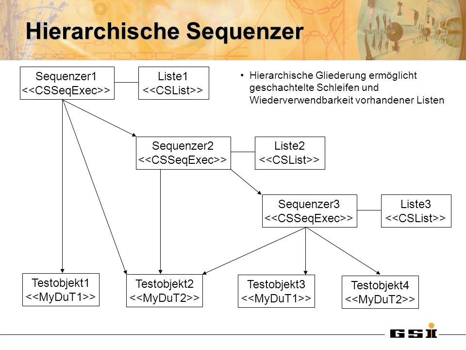 Hierarchische Sequenzer Sequenzer1 > Liste1 > Sequenzer2 > Liste2 > Testobjekt1 > Testobjekt2 > Testobjekt3 > Testobjekt4 > Sequenzer3 > Liste3 > Hierarchische Gliederung ermöglicht geschachtelte Schleifen und Wiederverwendbarkeit vorhandener Listen