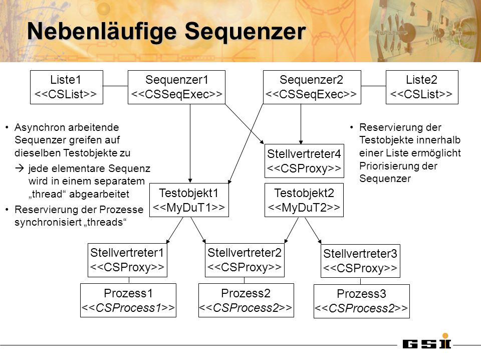 Nebenläufige Sequenzer Sequenzer1 > Liste1 > Sequenzer2 > Liste2 > Testobjekt1 > Testobjekt2 > Stellvertreter4 > Stellvertreter1 > Stellvertreter2 > Prozess1 > Prozess2 > Stellvertreter3 > Prozess3 > Asynchron arbeitende Sequenzer greifen auf dieselben Testobjekte zu jede elementare Sequenz wird in einem separatem thread abgearbeitet Reservierung der Prozesse synchronisiert threads Reservierung der Testobjekte innerhalb einer Liste ermöglicht Priorisierung der Sequenzer