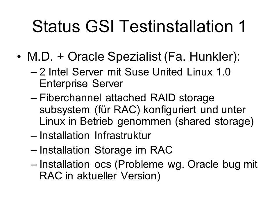 Status GSI Testinstallation 1 M.D. + Oracle Spezialist (Fa.