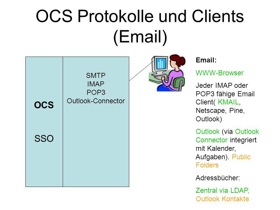 OCS Protokolle und Clients (Kalender) OCS SSO SMTP IMAP POP3 Outlook-Connector Kalender NNTP Kalender: WWW-Browser Outlook (via Outlook Connector integriert) Linux: ocal (Kalender Client) News: Jeder Newsreader Outlook Express (Win)