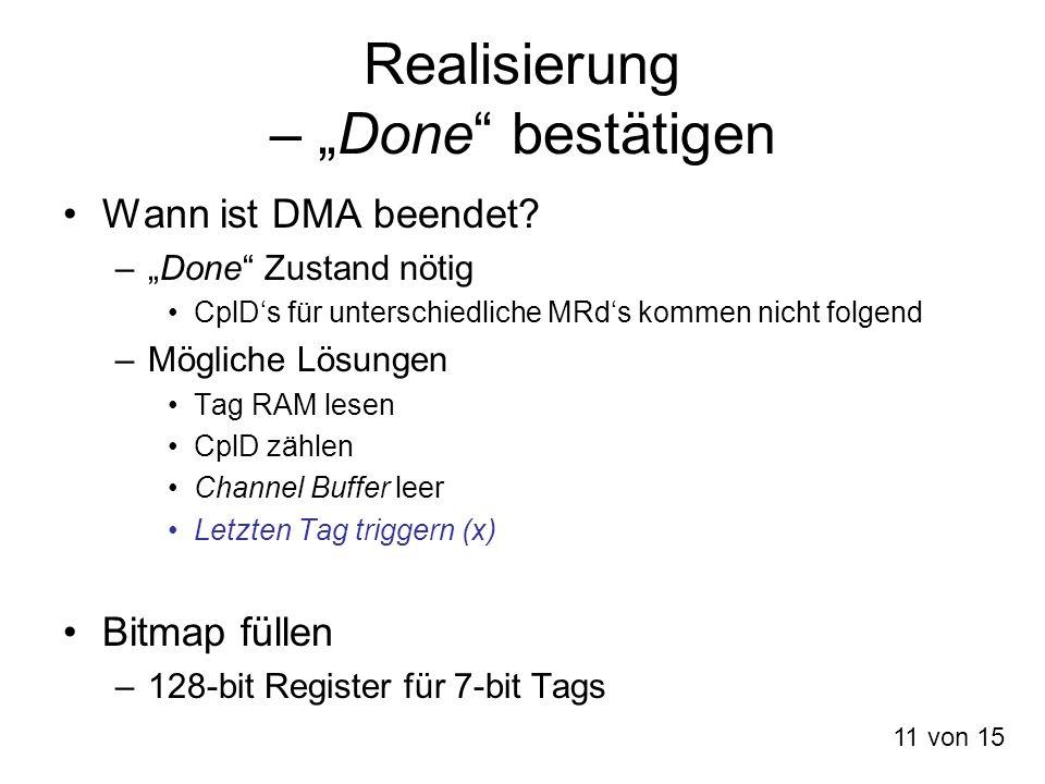 Realisierung – Done bestätigen Wann ist DMA beendet? –Done Zustand nötig CplDs für unterschiedliche MRds kommen nicht folgend –Mögliche Lösungen Tag R
