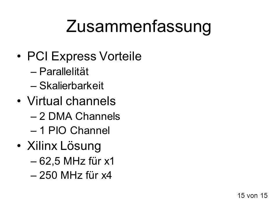 Zusammenfassung PCI Express Vorteile –Parallelität –Skalierbarkeit Virtual channels –2 DMA Channels –1 PIO Channel Xilinx Lösung –62,5 MHz für x1 –250