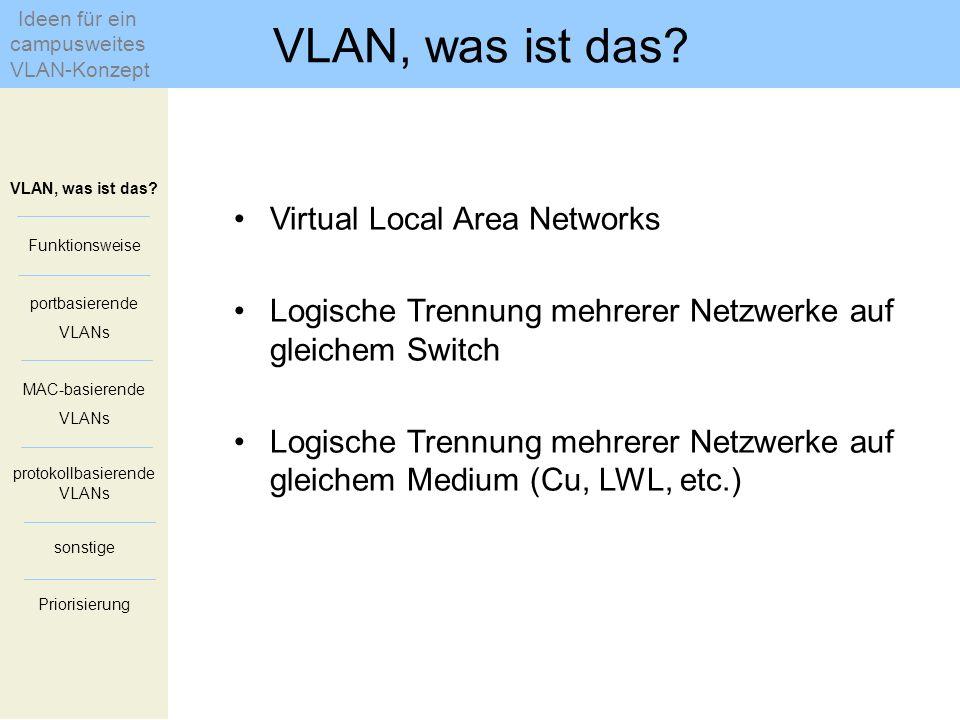 Virtual Local Area Networks Logische Trennung mehrerer Netzwerke auf gleichem Switch Logische Trennung mehrerer Netzwerke auf gleichem Medium (Cu, LWL