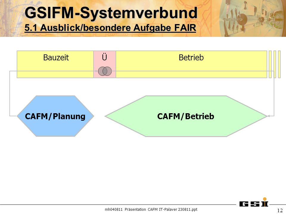 mh040811 Präsentation CAFM IT-Palaver 230811.ppt 12 GSIFM-Systemverbund 5.1 Ausblick/besondere Aufgabe FAIR BauzeitÜBetrieb CAFM/Planung CAFM/Betrieb
