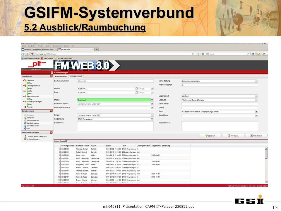mh040811 Präsentation CAFM IT-Palaver 230811.ppt 13 GSIFM-Systemverbund 5.2 Ausblick/Raumbuchung