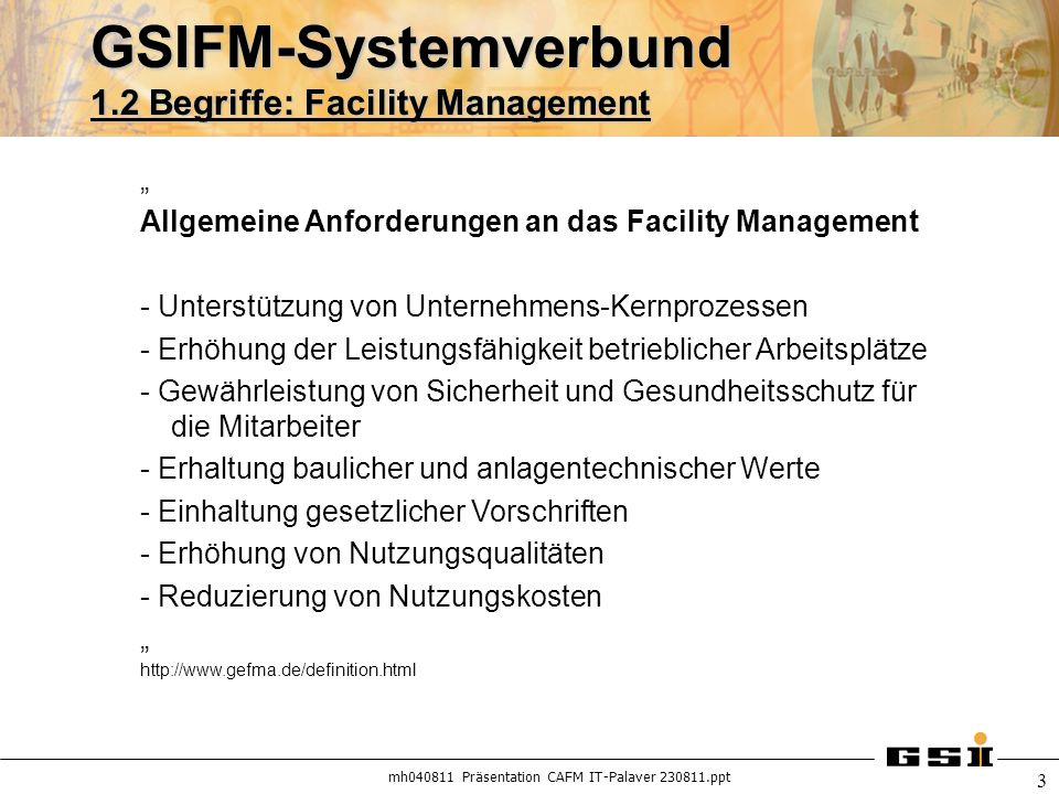 mh040811 Präsentation CAFM IT-Palaver 230811.ppt 3 GSIFM-Systemverbund 1.2 Begriffe: Facility Management Allgemeine Anforderungen an das Facility Mana