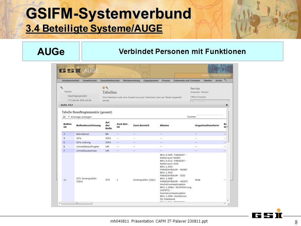 mh040811 Präsentation CAFM IT-Palaver 230811.ppt 8 GSIFM-Systemverbund 3.4 Beteiligte Systeme/AUGE AUGe Verbindet Personen mit Funktionen