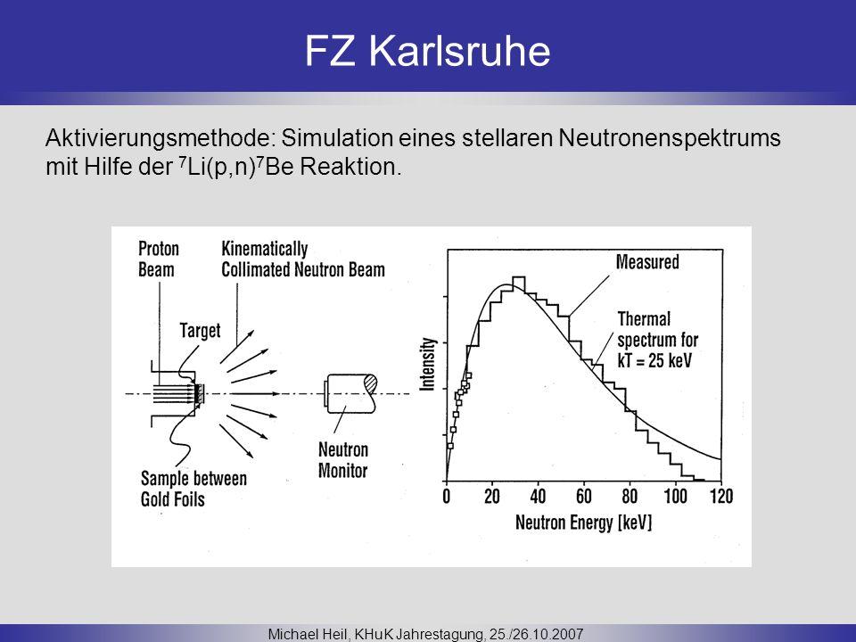FZ Karlsruhe Michael Heil, KHuK Jahrestagung, 25./26.10.2007 Aktivierungsmethode: Simulation eines stellaren Neutronenspektrums mit Hilfe der 7 Li(p,n