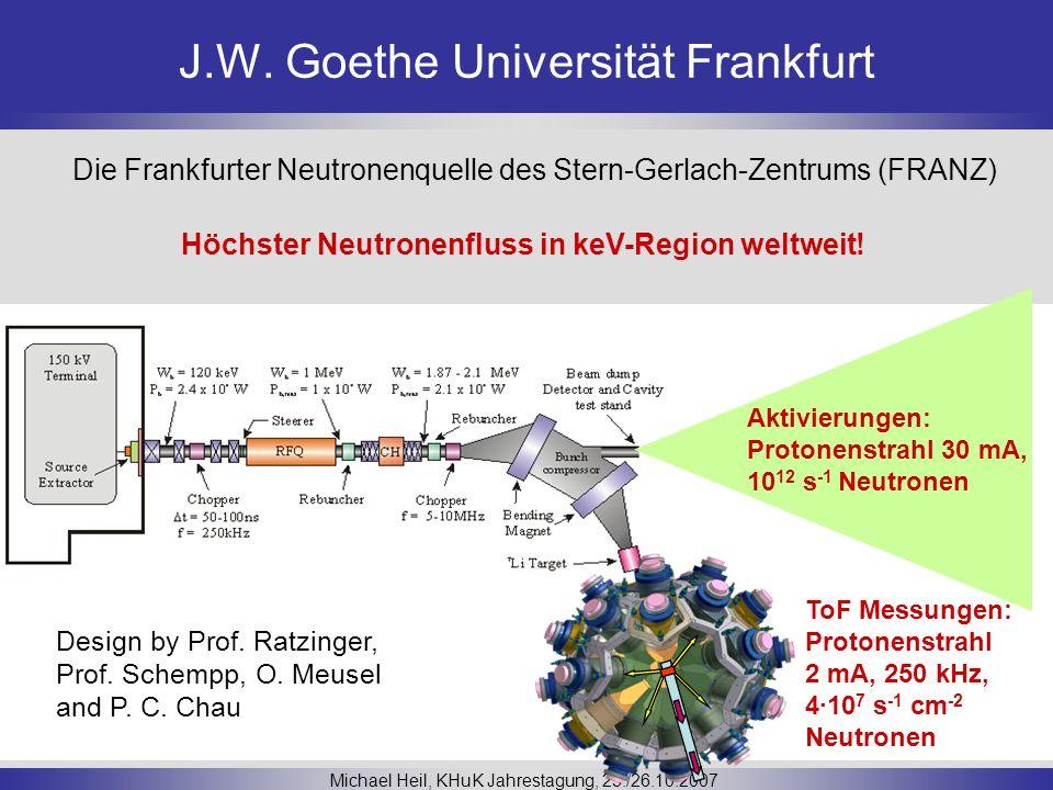 J.W. Goethe Universität Frankfurt Michael Heil, KHuK Jahrestagung, 25./26.10.2007 Die Frankfurter Neutronenquelle des Stern-Gerlach-Zentrums (FRANZ) D