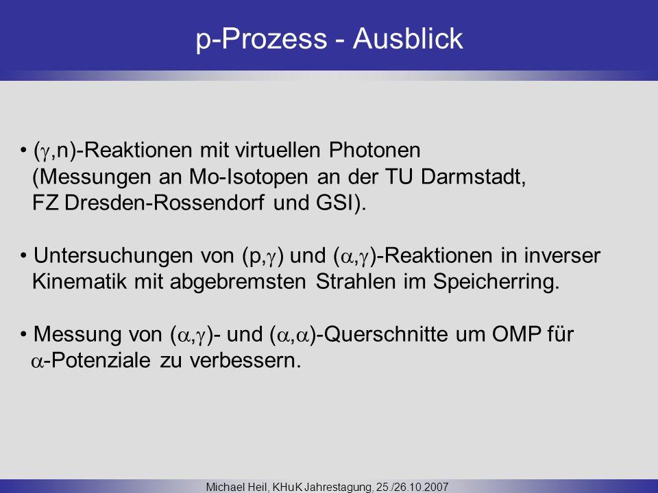 p-Prozess - Ausblick Michael Heil, KHuK Jahrestagung, 25./26.10.2007 (,n)-Reaktionen mit virtuellen Photonen (Messungen an Mo-Isotopen an der TU Darms