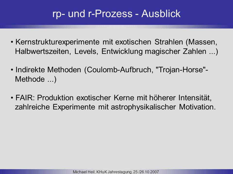 rp- und r-Prozess - Ausblick Michael Heil, KHuK Jahrestagung, 25./26.10.2007 Kernstrukturexperimente mit exotischen Strahlen (Massen, Halbwertszeiten,
