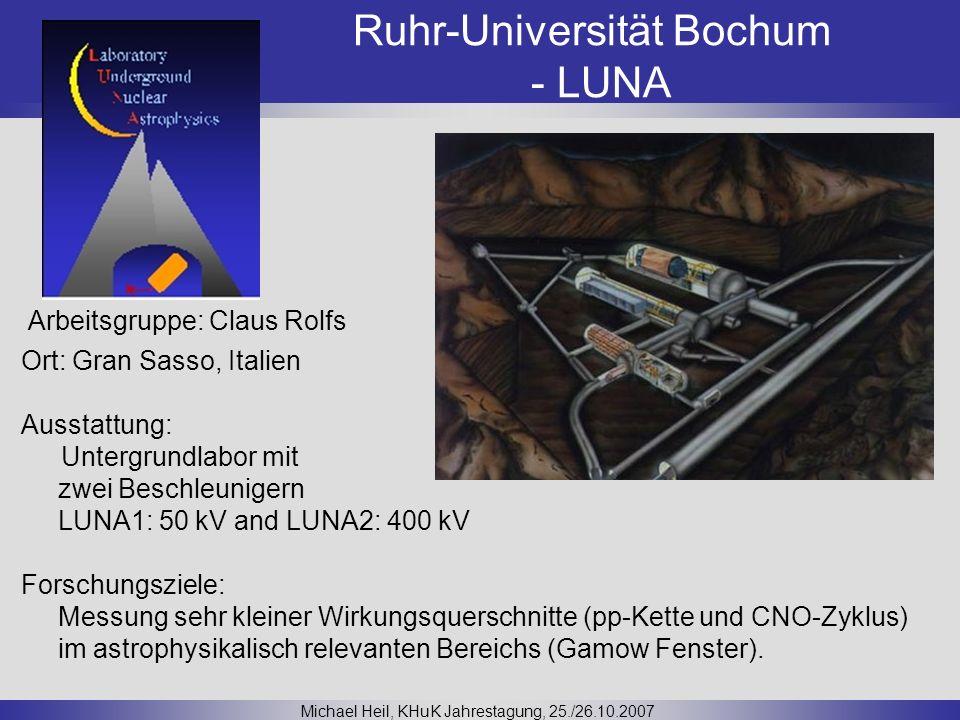 Ruhr-Universität Bochum - LUNA Michael Heil, KHuK Jahrestagung, 25./26.10.2007 Ort: Gran Sasso, Italien Ausstattung: Untergrundlabor mit zwei Beschleu