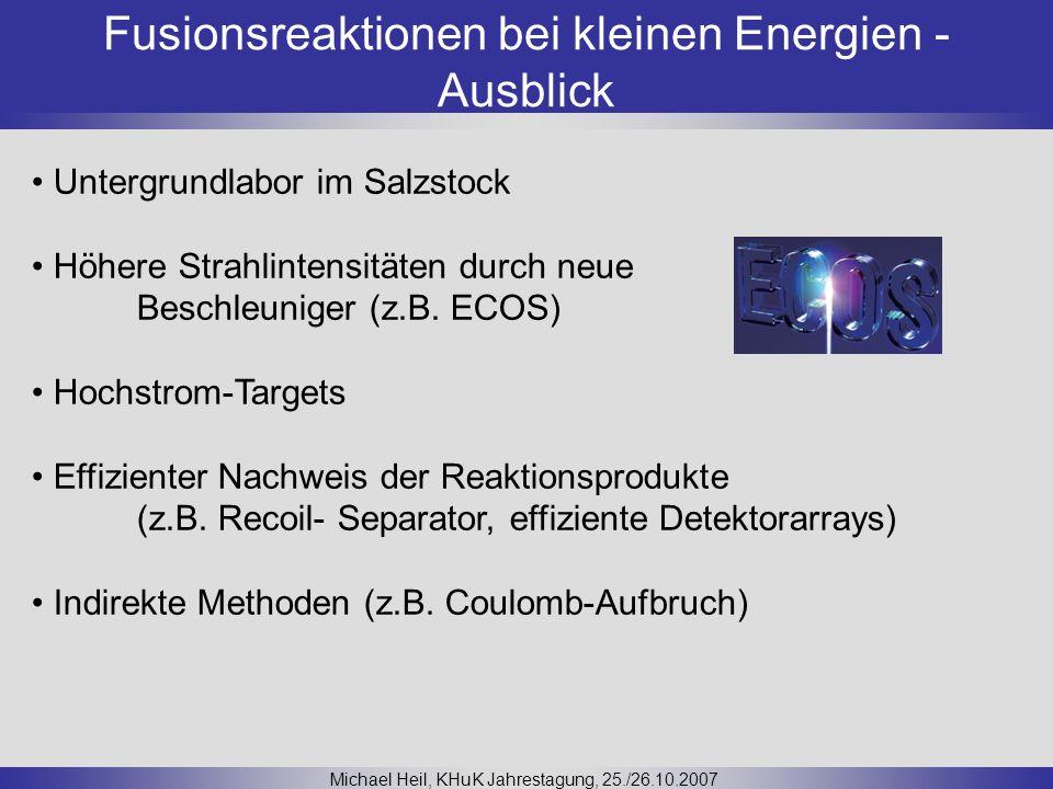 Fusionsreaktionen bei kleinen Energien - Ausblick Michael Heil, KHuK Jahrestagung, 25./26.10.2007 Untergrundlabor im Salzstock Höhere Strahlintensität