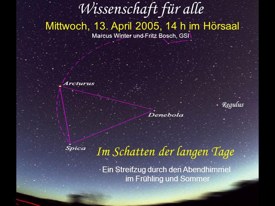 Wissenschaft für alle Mittwoch, 13. April 2005, 14 h im Hörsaal Marcus Winter und Fritz Bosch, GSI Im Schatten der langen Tage Ein Streifzug durch den