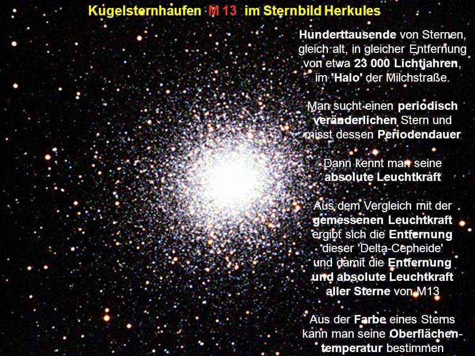 Im Schatten der langen Tage : Kugelsternhaufen M 13 im Sternbild Herkules Hunderttausende von Sternen, gleich alt, in gleicher Entfernung von etwa 23