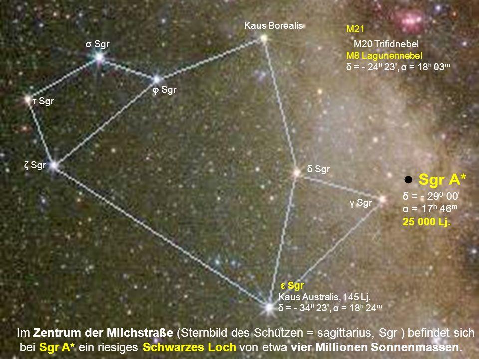 Im Zentrum der Milchstraße (Sternbild des Schützen = sagittarius, Sgr ) befindet sich bei Sgr A* ein riesiges Schwarzes Loch von etwa vier Millionen S