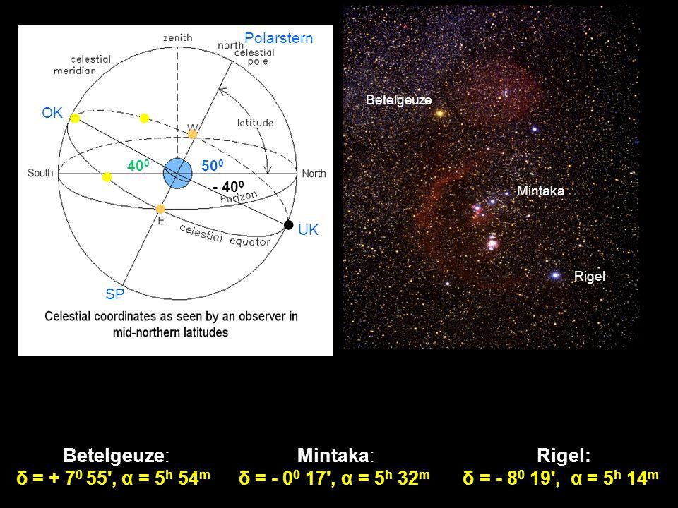 UK OK 40 0 Polarstern - 40 0 SP 50 0 Betelgeuze: δ = + 7 0 55', α = 5 h 54 m Mintaka: δ = - 0 0 17', α = 5 h 32 m Betelgeuze Mintaka Rigel Rigel: δ =