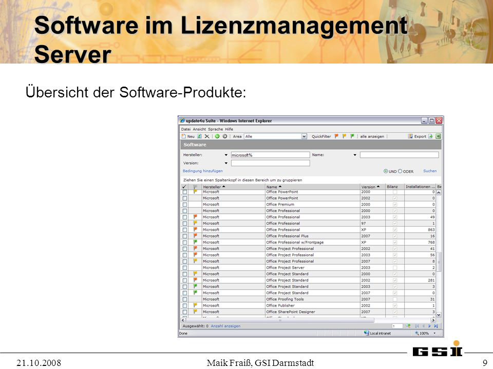 Software im Lizenzmanagement Server 21.10.2008Maik Fraiß, GSI Darmstadt 9 Übersicht der Software-Produkte: