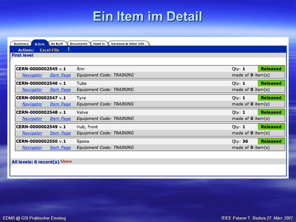 Ein Item im Detail EDMS @ GSI Praktischer Einstieg IT/EE Palaver T. Badura 27. März 2007