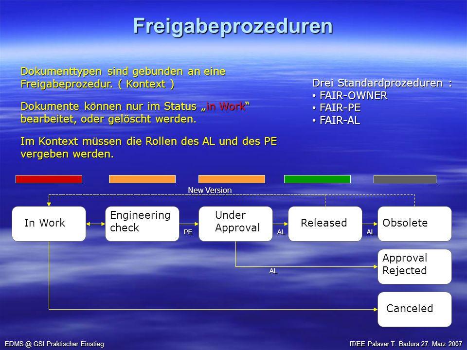 Freigabeprozeduren EDMS @ GSI Praktischer Einstieg IT/EE Palaver T. Badura 27. März 2007 In Work EngineeringcheckUnderApproval ReleasedObsolete Cancel