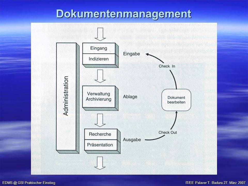 Dokumentenmanagement EDMS @ GSI Praktischer Einstieg IT/EE Palaver T. Badura 27. März 2007