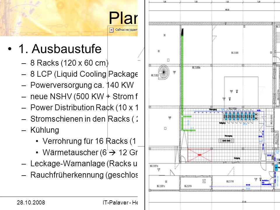 Planung 1. Ausbaustufe –8 Racks (120 x 60 cm) –8 LCP (Liquid Cooling Package – Kühlmodule) –Powerversorgung ca. 140 KW –neue NSHV (500 KW + Strom für