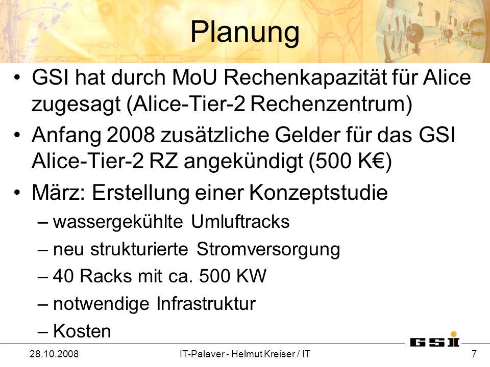 Planung April: Konzeptstudie (Rittal-System) –500 KW –Anschluß an zentrale GSI-Kälte Wärmetauscher –Pufferspeicher (Wasserkreislauf) –zusätzliche Kühleinheiten (Chillars) als Notkühlung –neue Verrohrung –USV für Kühlagreggate und Pumpen –Normalnetzversorgung der Rechner –Statik der Decke überprüfen (750 kg/qm) [ 40 x 13 kg (1HE) + 150 kg Rack = 670 kg/0,6 qm ] [ Blade-Center: 4 x 185 kg + Rack = 890 kg/0,6 qm ] 28.10.2008IT-Palaver - Helmut Kreiser / IT 8