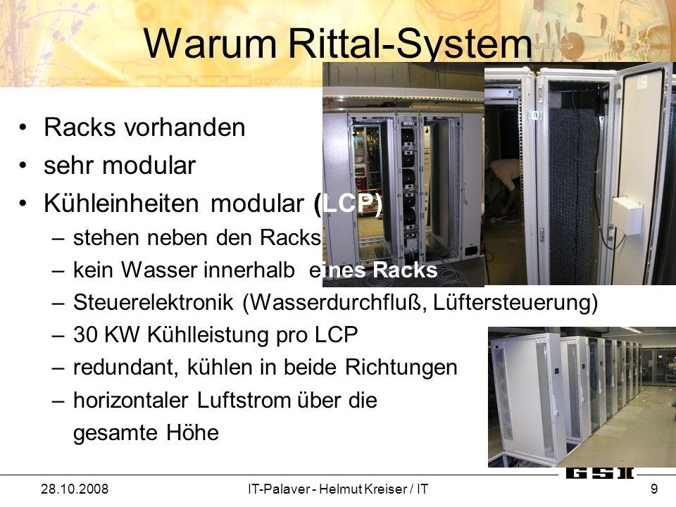 Warum Rittal-System 28.10.2008IT-Palaver - Helmut Kreiser / IT 9 Racks vorhanden sehr modular Kühleinheiten modular (LCP) –stehen neben den Racks –kei