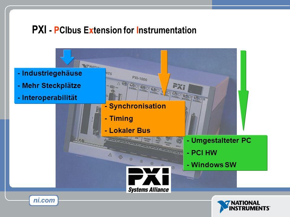 - Umgestalteter PC - PCI HW - Windows SW - Synchronisation - Timing - Lokaler Bus - Industriegehäuse - Mehr Steckplätze - Interoperabilität PXI - PCIb
