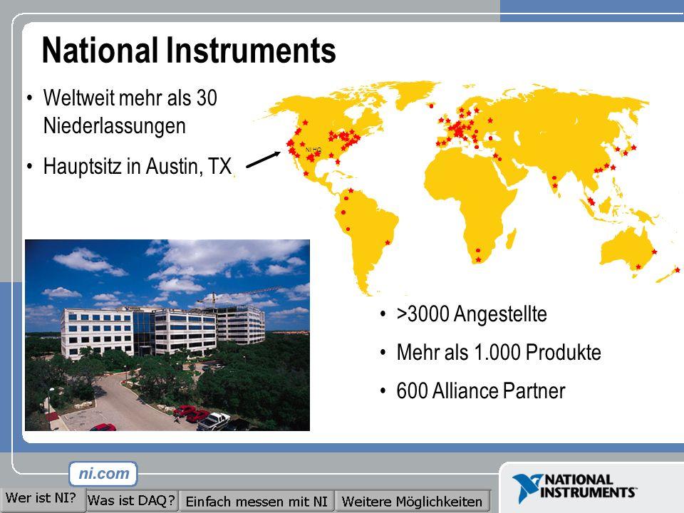 National Instruments >3000 Angestellte Mehr als 1.000 Produkte 600 Alliance Partner Weltweit mehr als 30 Niederlassungen Hauptsitz in Austin, TX