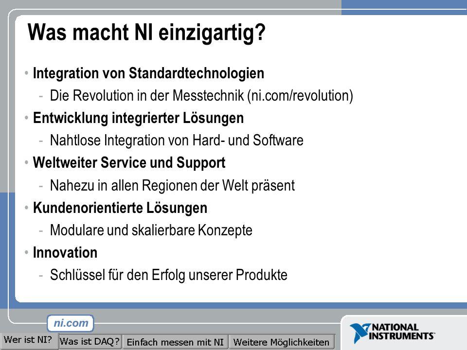 Was macht NI einzigartig? Integration von Standardtechnologien -Die Revolution in der Messtechnik (ni.com/revolution) Entwicklung integrierter Lösunge