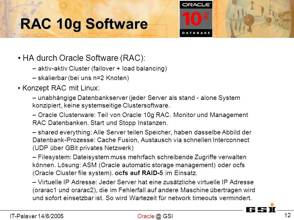 IT-Palaver 14/6/2005Oracle @ GSI 12 RAC 10g Software HA durch Oracle Software (RAC): – aktiv-aktiv Cluster (failover + load balancing) – skalierbar (bei uns n=2 Knoten) Konzept RAC mit Linux: – unabhängige Datenbankserver (jeder Server als stand - alone System konzipiert, keine systemseitige Clustersoftware.