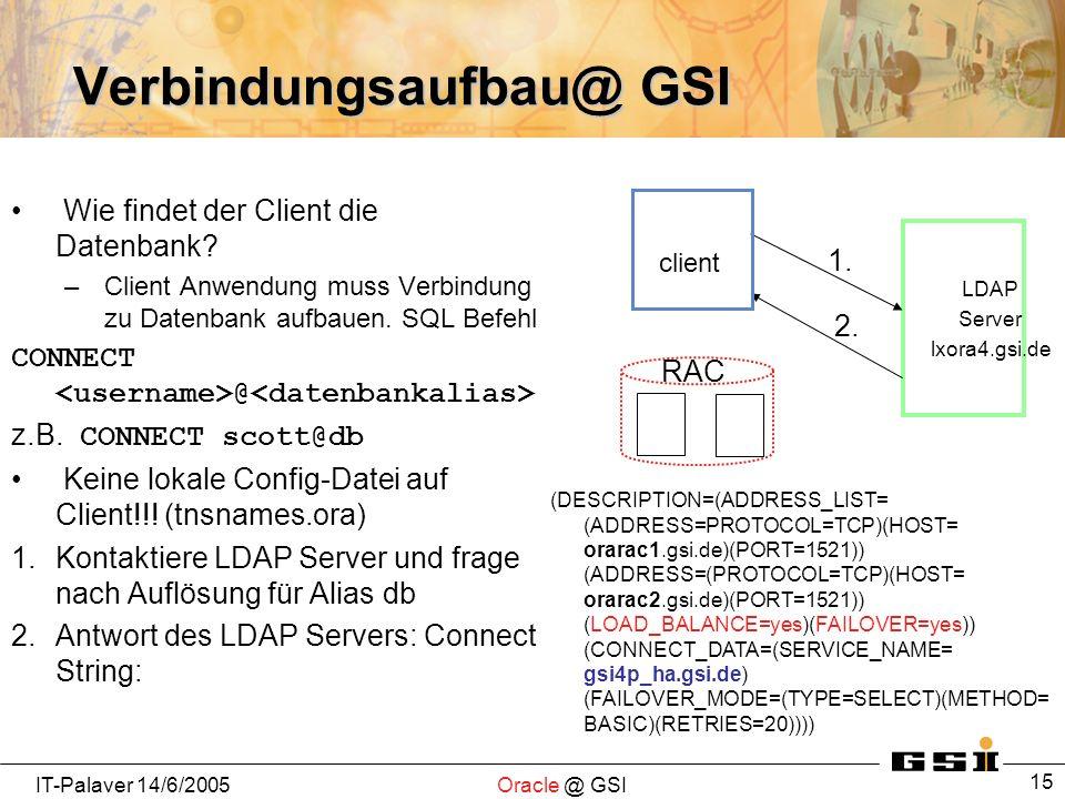 IT-Palaver 14/6/2005Oracle @ GSI 15 Verbindungsaufbau@ GSI Wie findet der Client die Datenbank? –Client Anwendung muss Verbindung zu Datenbank aufbaue