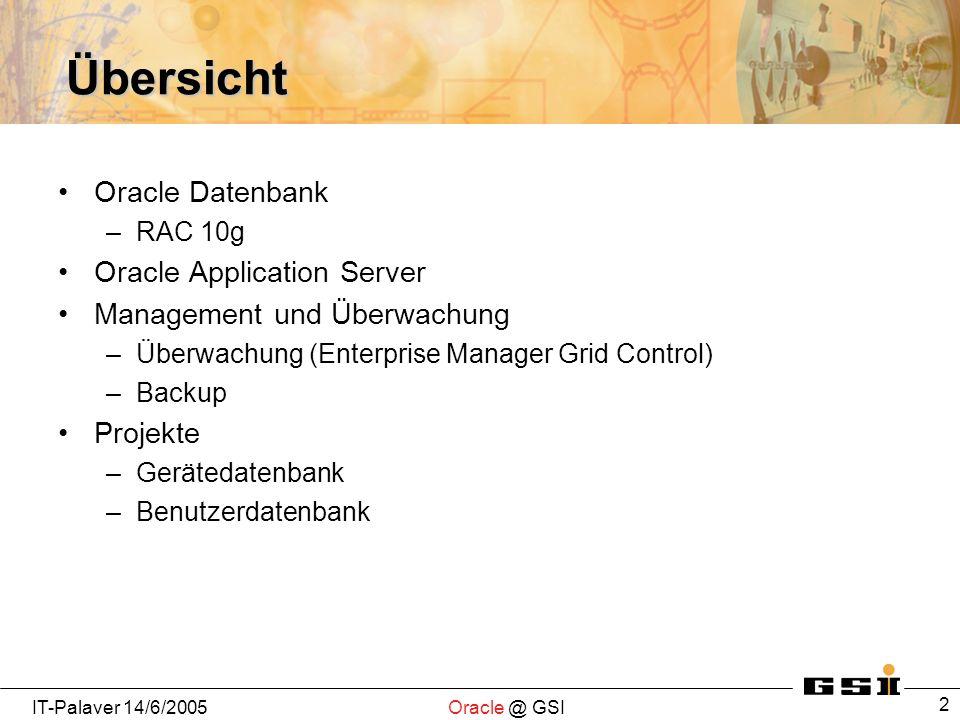 IT-Palaver 14/6/2005Oracle @ GSI 3 Historie Oracle Datenbank in GSI Oracle 7 und Oracle 8 auf AIX und DEC Unix (single node) (<2000) Oracle 9 auf Windows 2000 (single node) (2000-2004) Oracle 10 auf Linux-Cluster (RAC: Real Application Cluster) (2-node) (ab Anfang 2005) Hohe Verfügbarkeit durch Auswahl geeigneter Hardware und Oracle HA Technologien (RAC)