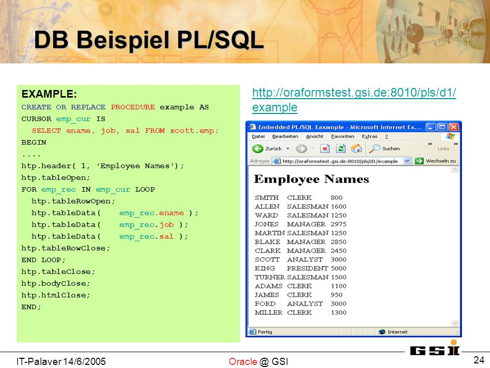 IT-Palaver 14/6/2005Oracle @ GSI 24 DB Beispiel PL/SQL EXAMPLE: CREATE OR REPLACE PROCEDURE example AS CURSOR emp_cur IS SELECT ename, job, sal FROM scott.emp; BEGIN....