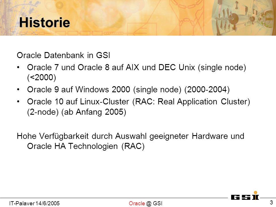 IT-Palaver 14/6/2005Oracle @ GSI 34 OID Internet Directory Server LDAP Server Bestandteil von Oracle AS eigene Oracle Datenbank als backend (nur intern) Schnittstelle LDAP (via OS ldapadd, ldapmodify etc, und von PL/SQL via DBMS_LDAP Package Prozeduren) eigenes Webinterface zur LDAP-Benutzerverwaltung Rollenkonzept zur Rechtevergabe