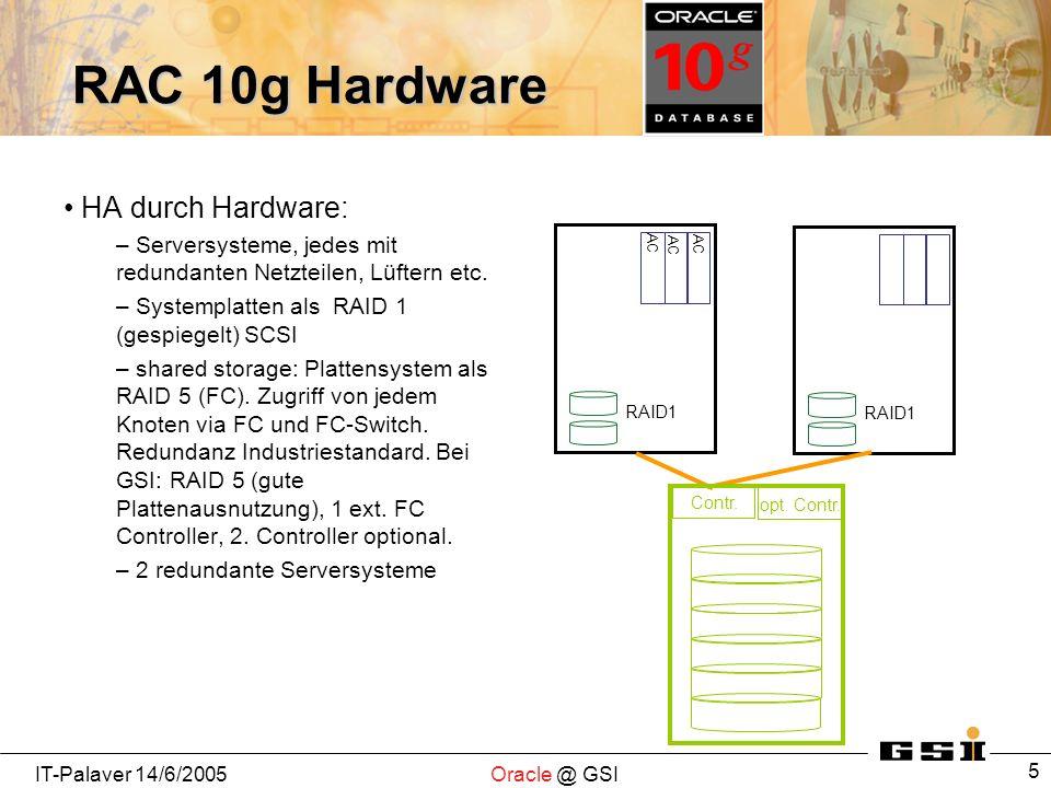 IT-Palaver 14/6/2005Oracle @ GSI 5 RAC 10g Hardware HA durch Hardware: – Serversysteme, jedes mit redundanten Netzteilen, Lüftern etc. – Systemplatten