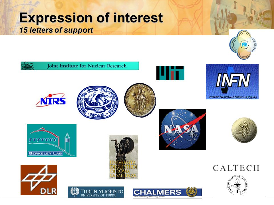 Expression of interest 15 letters of support