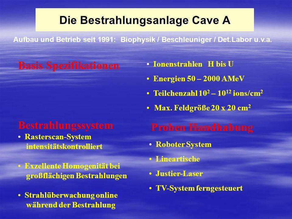 Die Bestrahlungsanlage Cave A Ionenstrahlen H bis U Energien 50 – 2000 AMeV Teilchenzahl 10 2 – 10 12 ions/cm 2 Max. Feldgröße 20 x 20 cm 2 Bestrahlun