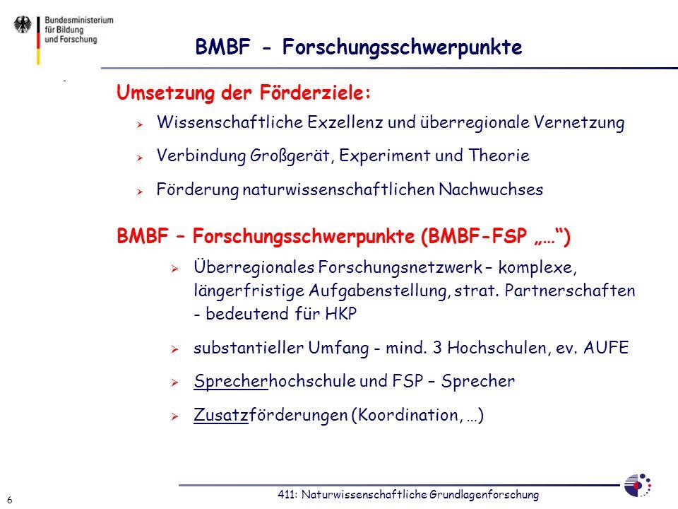 411: Naturwissenschaftliche Grundlagenforschung 6 BMBF - Forschungsschwerpunkte Umsetzung der Förderziele: Wissenschaftliche Exzellenz und überregiona