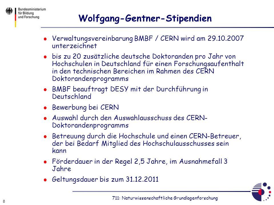 711: Naturwissenschaftliche Grundlagenforschung 8 Wolfgang-Gentner-Stipendien Verwaltungsvereinbarung BMBF / CERN wird am 29.10.2007 unterzeichnet bis