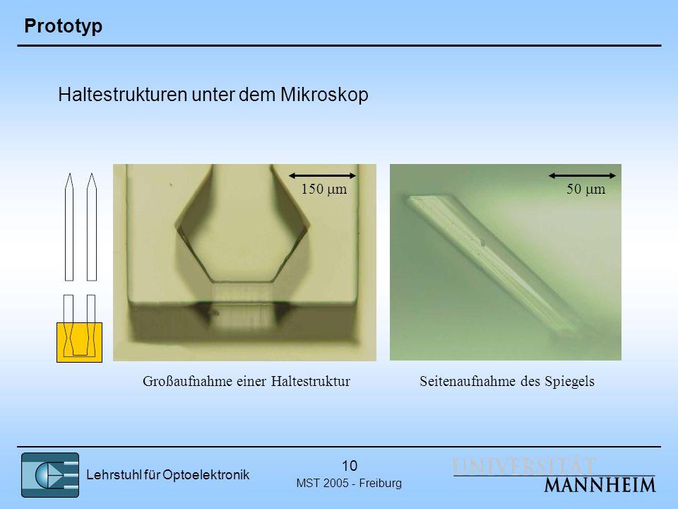 Lehrstuhl für Optoelektronik MST 2005 - Freiburg 10 Prototyp Haltestrukturen unter dem Mikroskop 150 m Großaufnahme einer HaltestrukturSeitenaufnahme