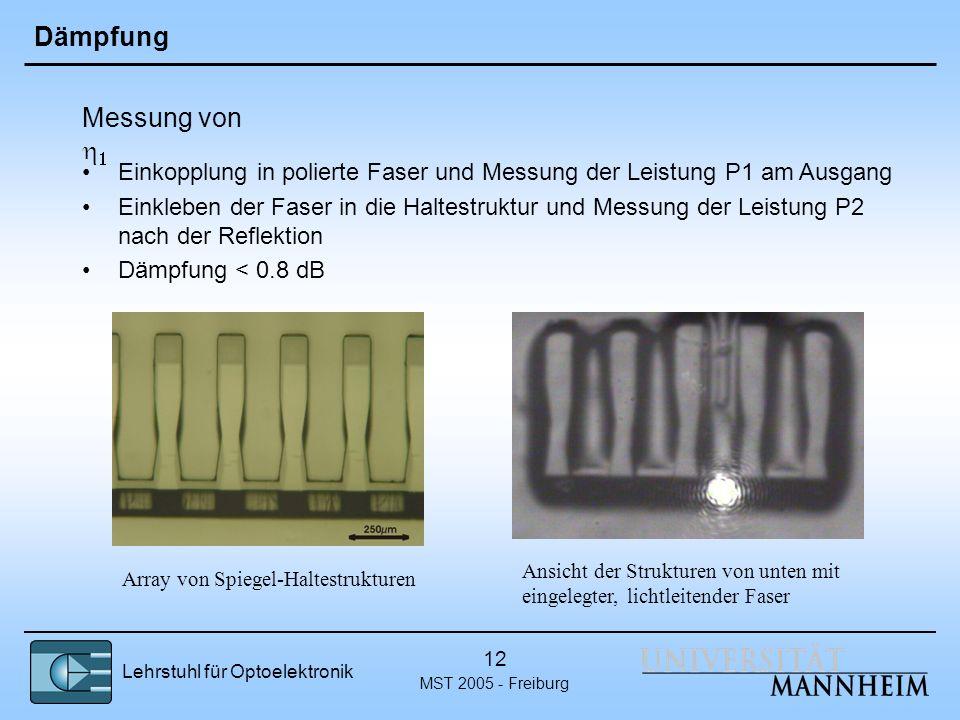 Lehrstuhl für Optoelektronik MST 2005 - Freiburg 12 Dämpfung Einkopplung in polierte Faser und Messung der Leistung P1 am Ausgang Einkleben der Faser