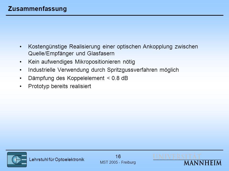 Lehrstuhl für Optoelektronik MST 2005 - Freiburg 16 Zusammenfassung Kostengünstige Realisierung einer optischen Ankopplung zwischen Quelle/Empfänger u